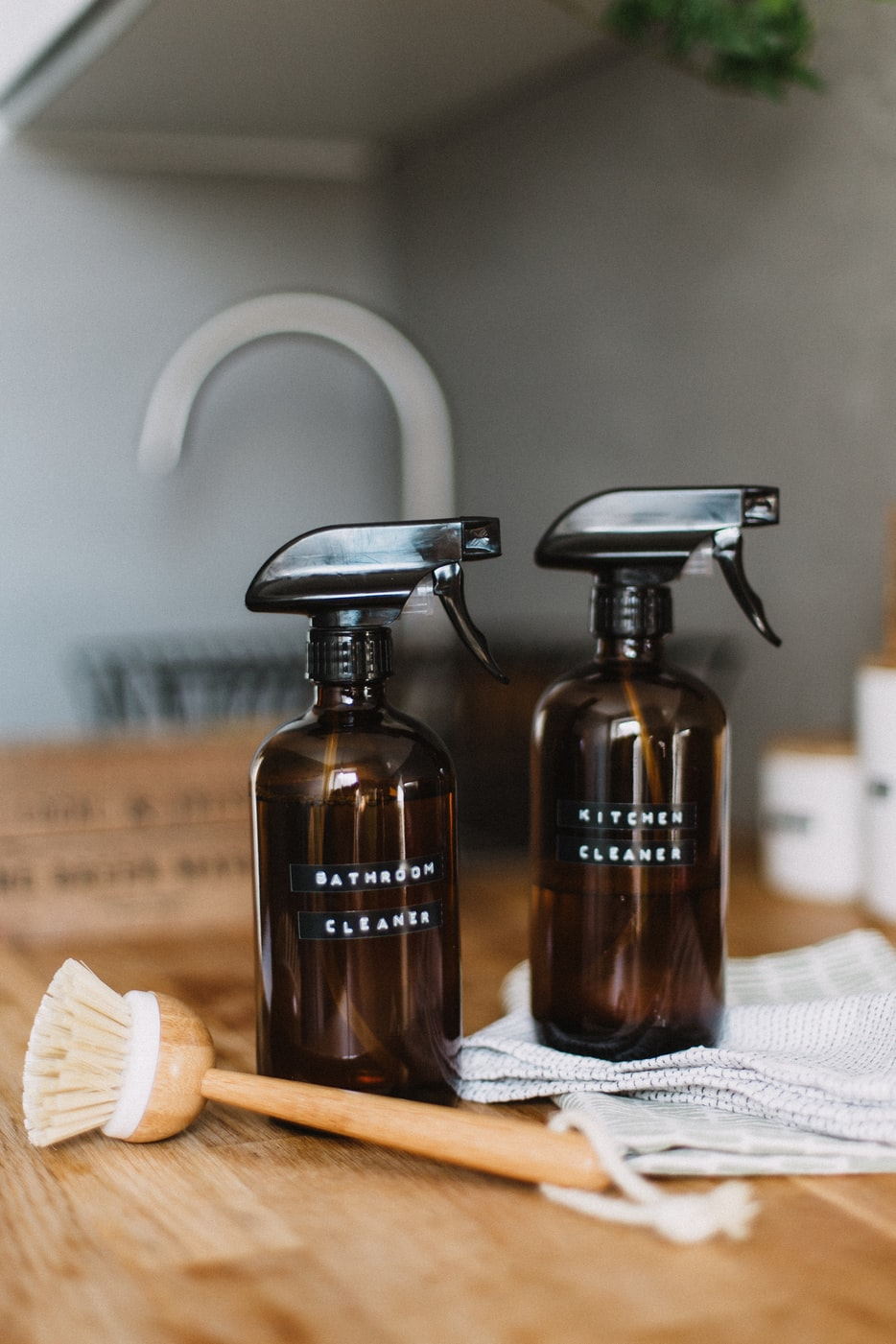 Bottled cleaners with broom