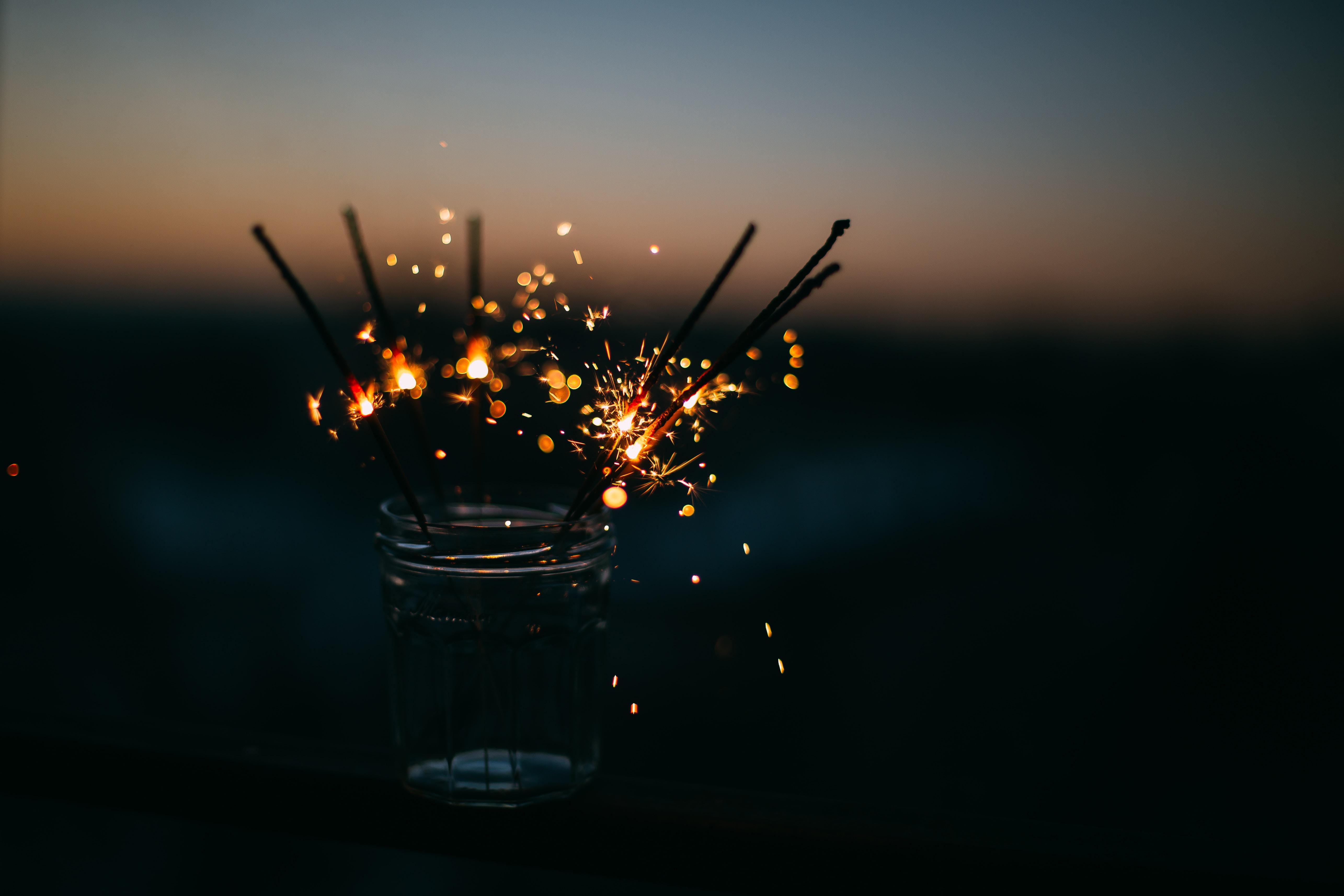 sparkler on jar