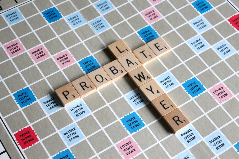 Scrabble game with lawyer and probate word