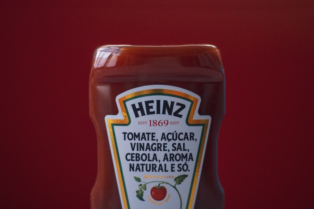 1869 Heinz tomato ketchup bottle close-up photography