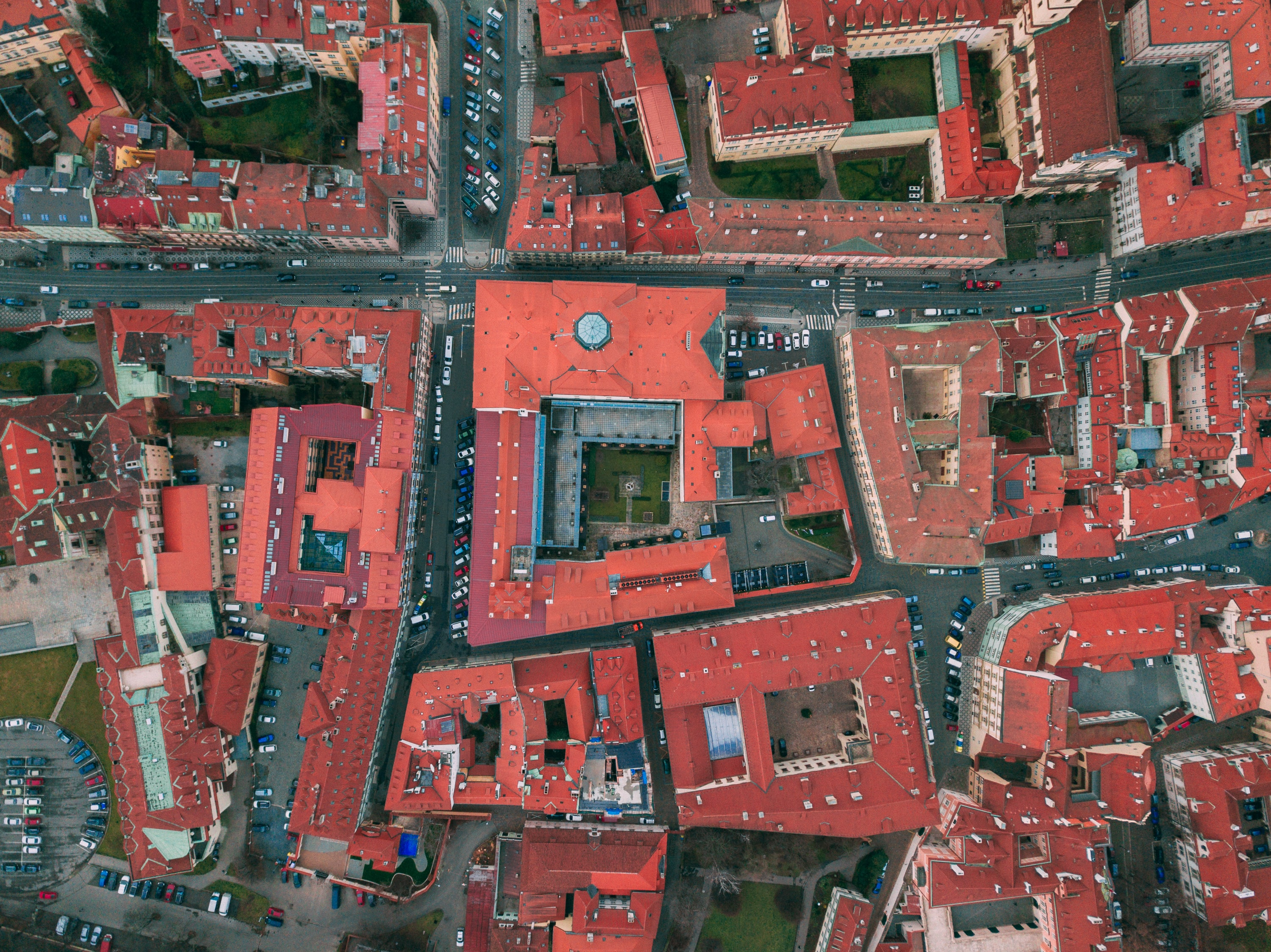 aerial photography of red concrete buildings at daytime