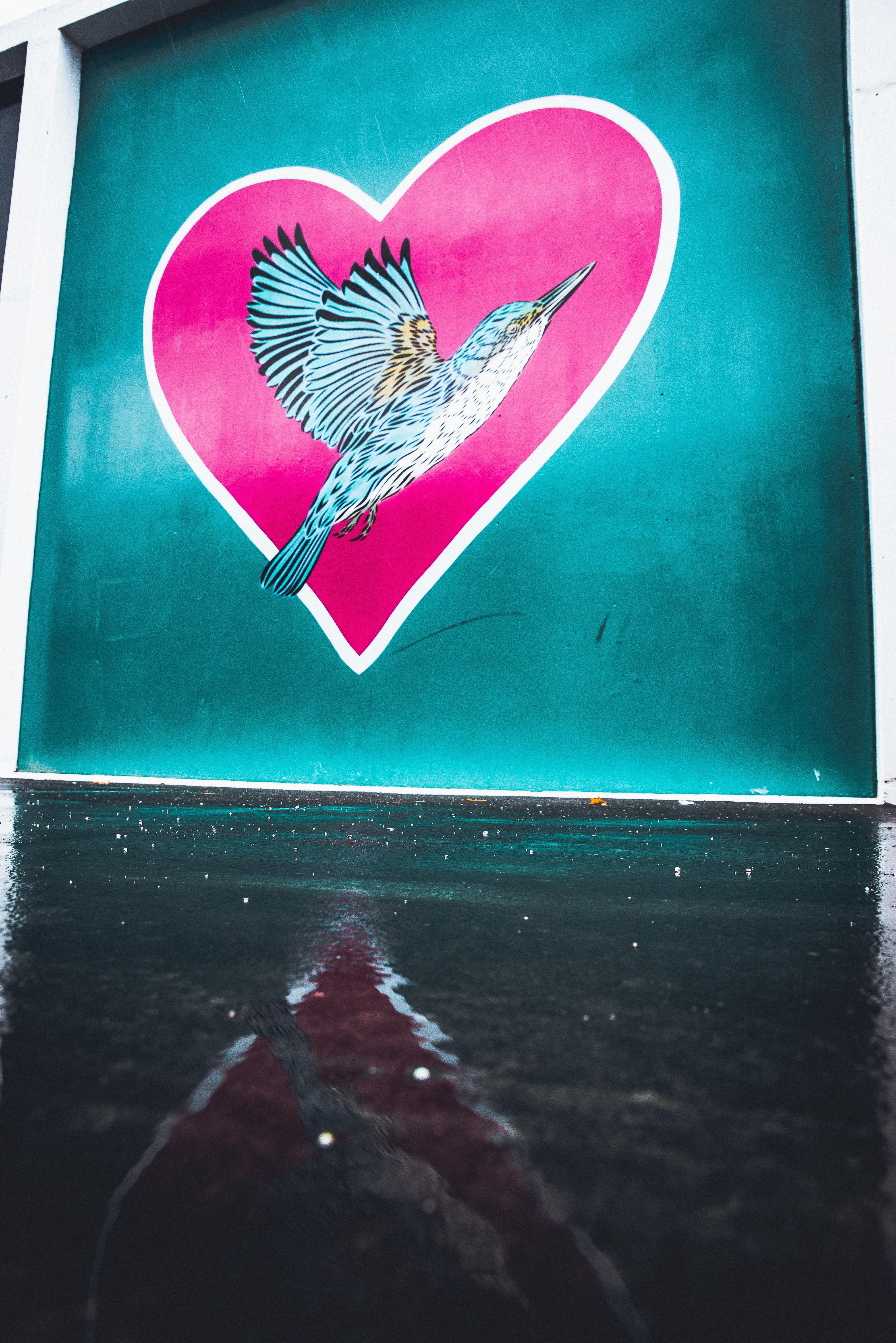 eagle on heart background painting
