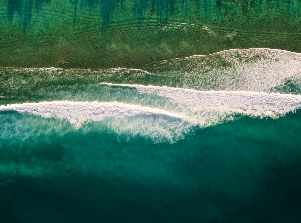 bird's eye view of water wave