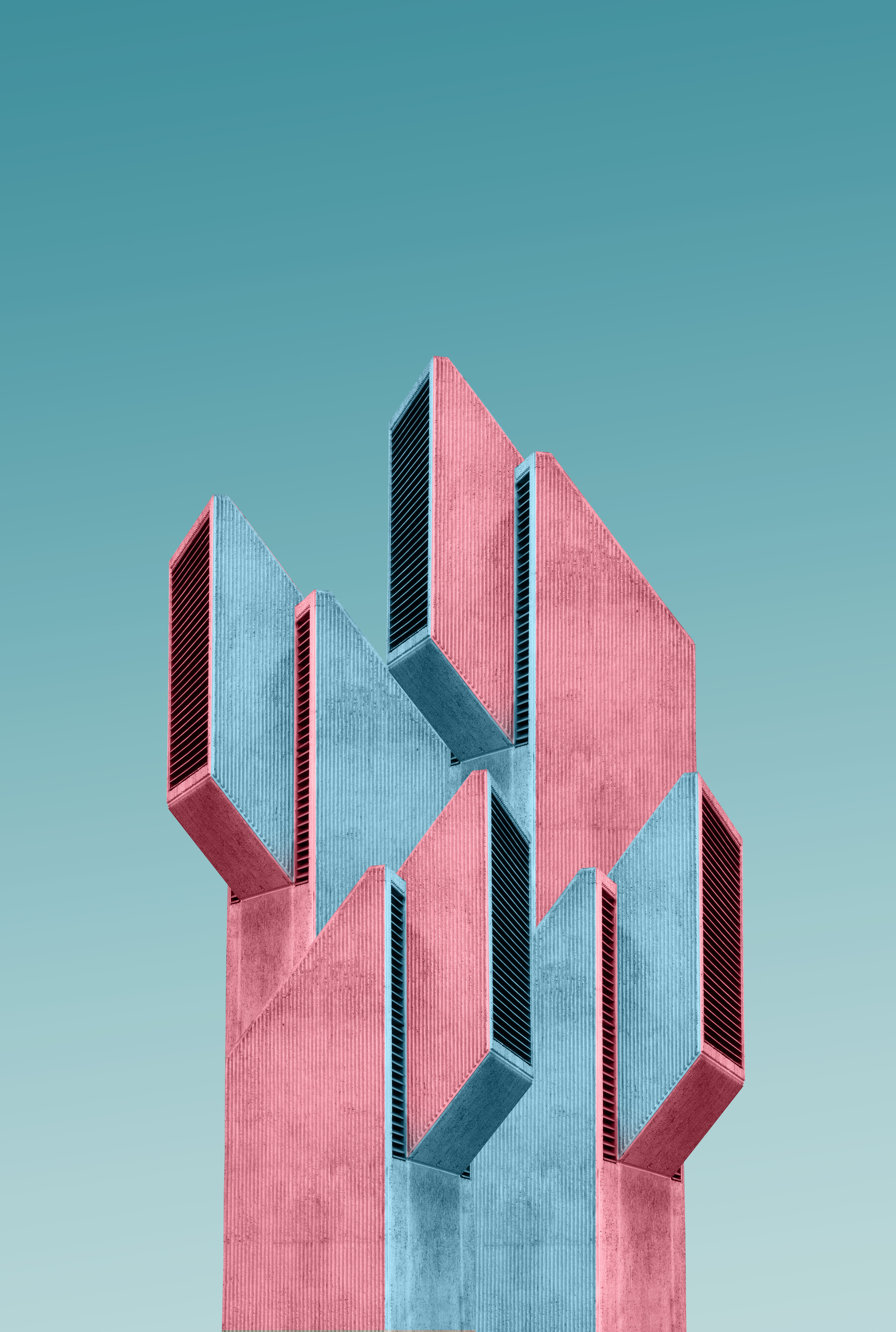 pink and blue concrete building under blu sky