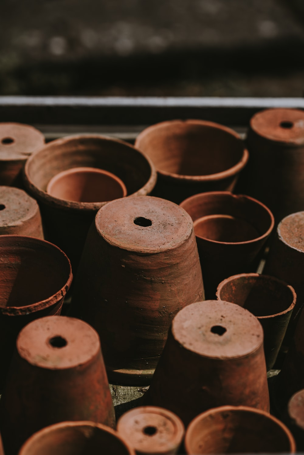 brown clay flower pots