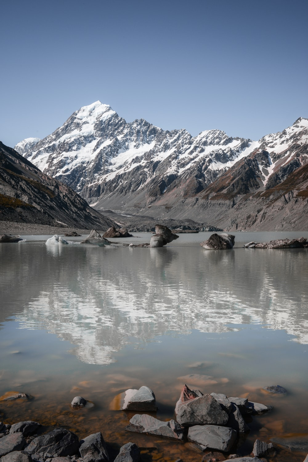 body of water with snow capped mountain background