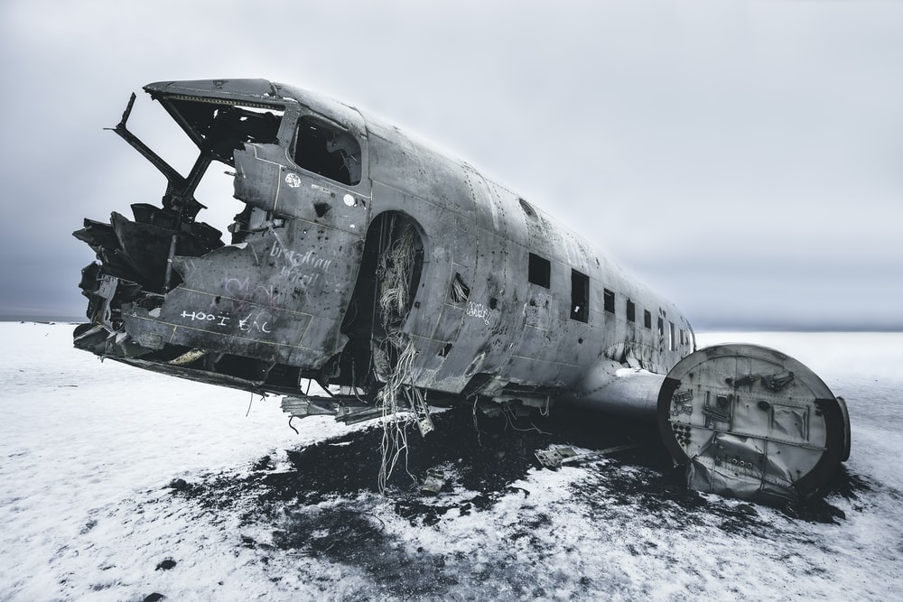 grayscale photography of abandoned airliner