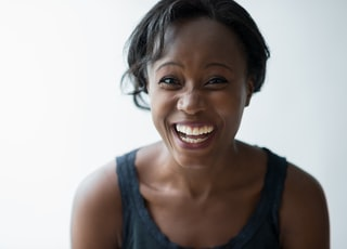 smiling woman with white background
