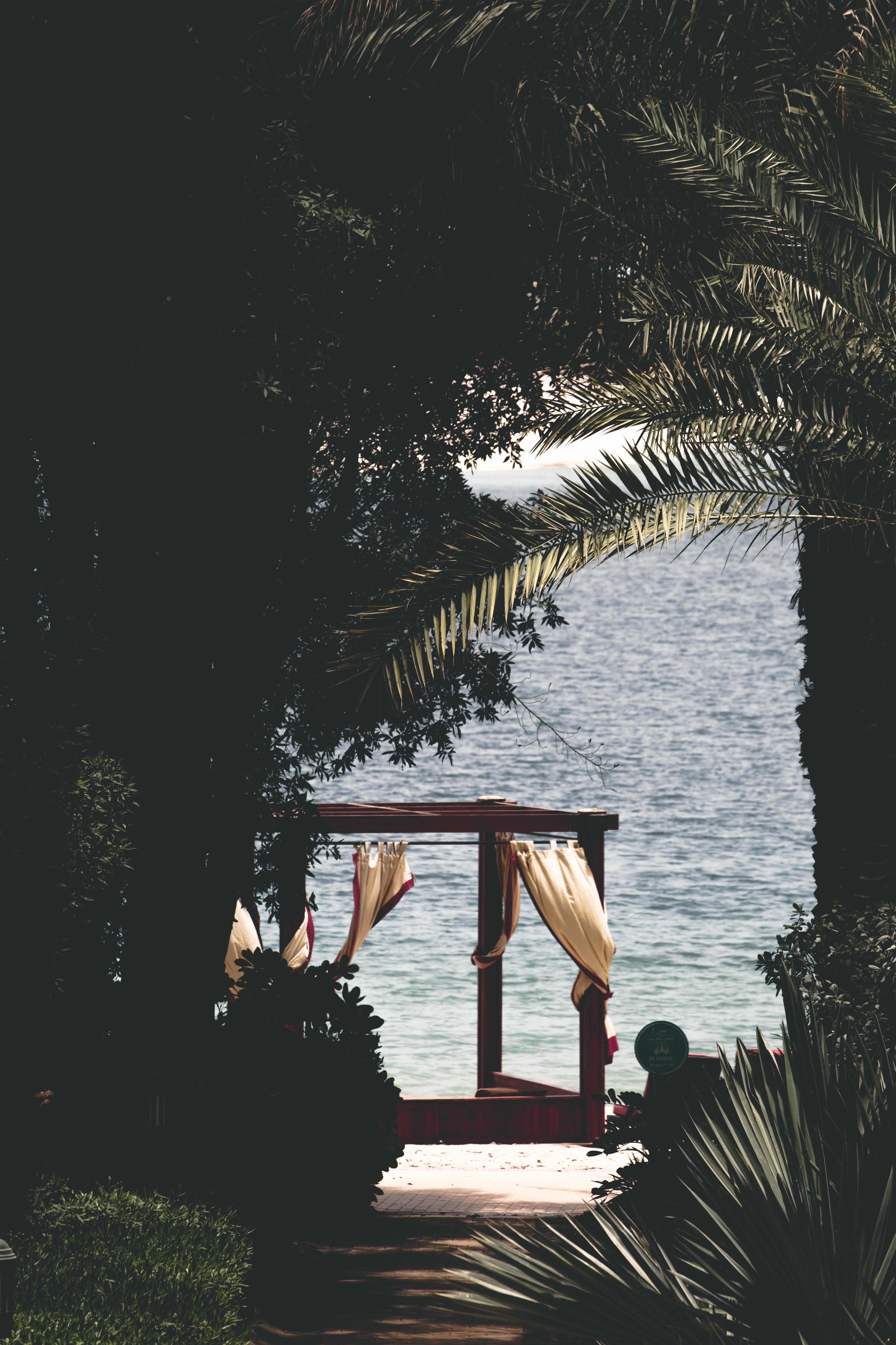 garden gazebo near beach under coconut trees