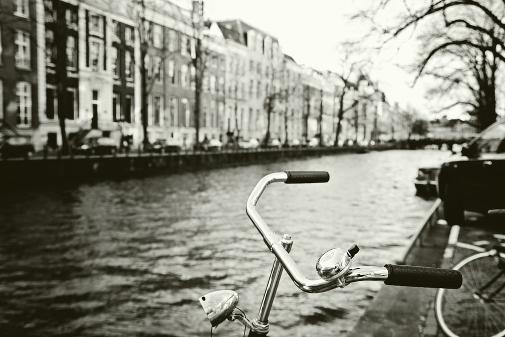 grayscale photo of bicycle
