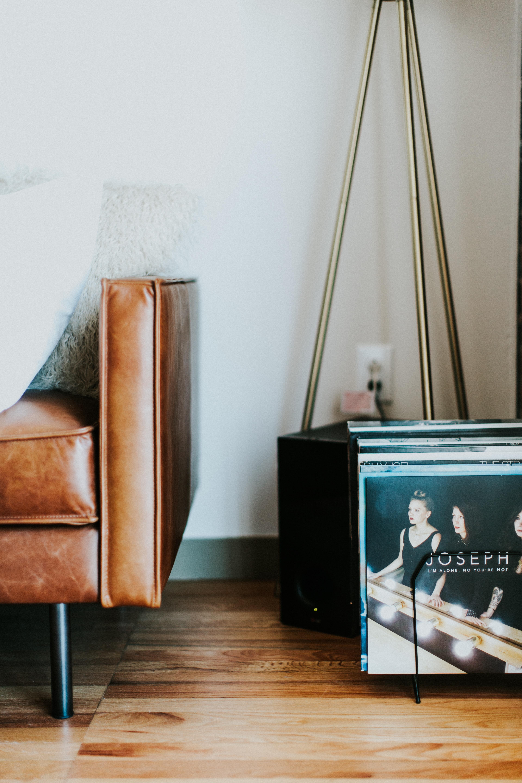 leather sofa near tripod