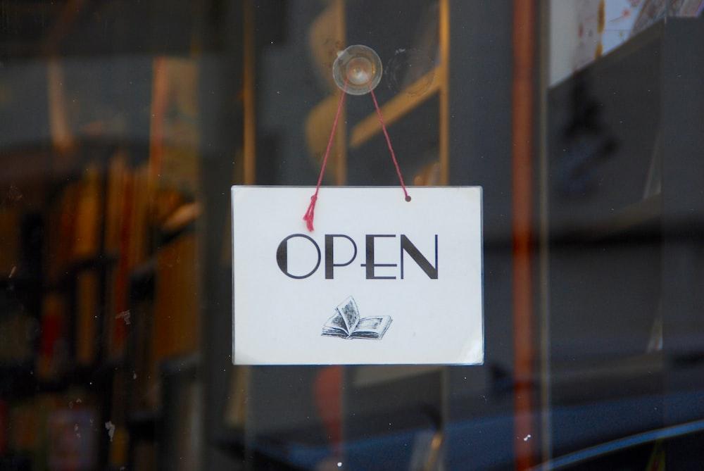 signage displaying open