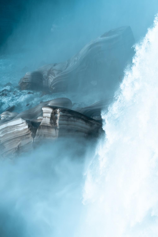 waterfalls near mountains