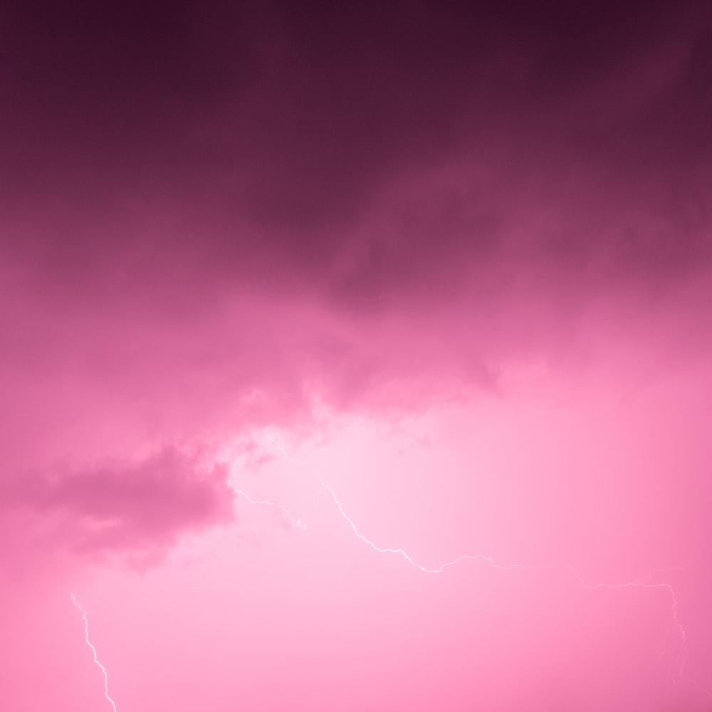 pink sky with lightning