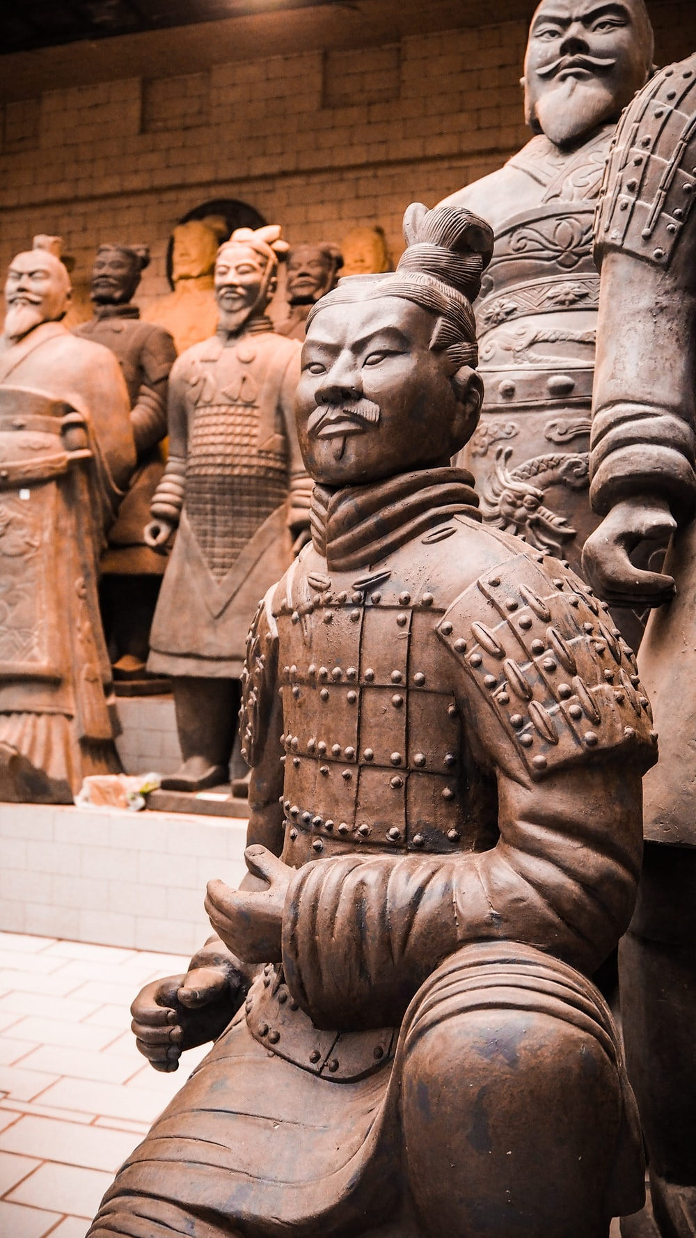 close view of Terracotta soldiers at the museum