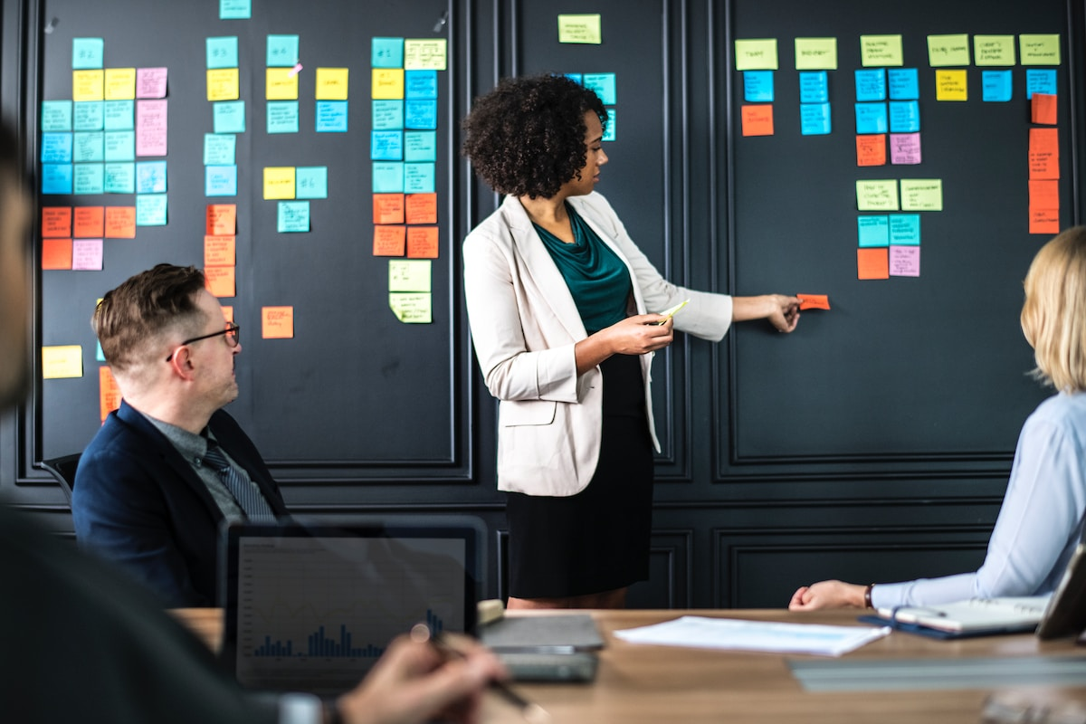 Image of a business woman presenting ideas to a board room using sticky notes on the wall.