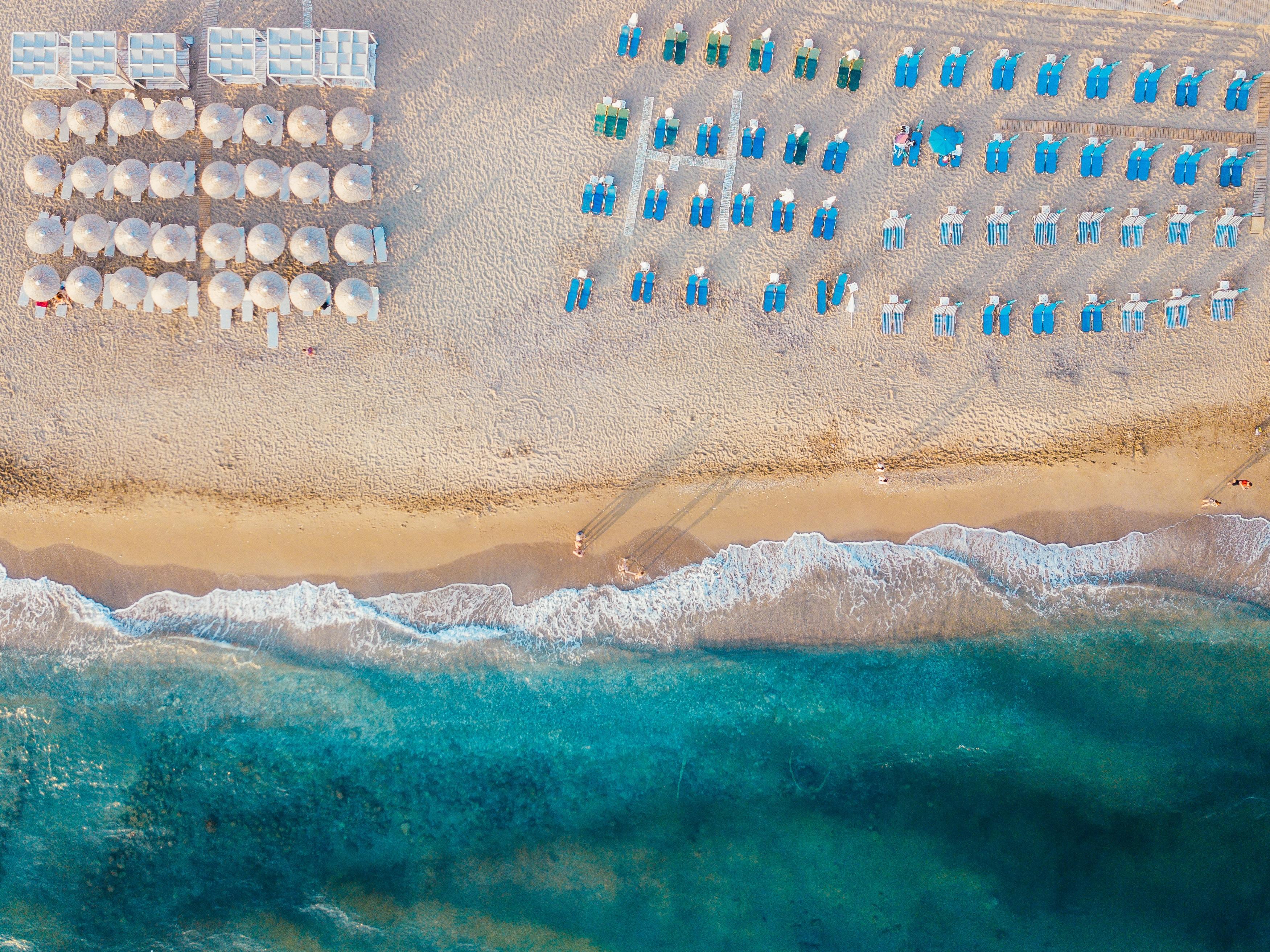 bird's-eye view of beach umbrella