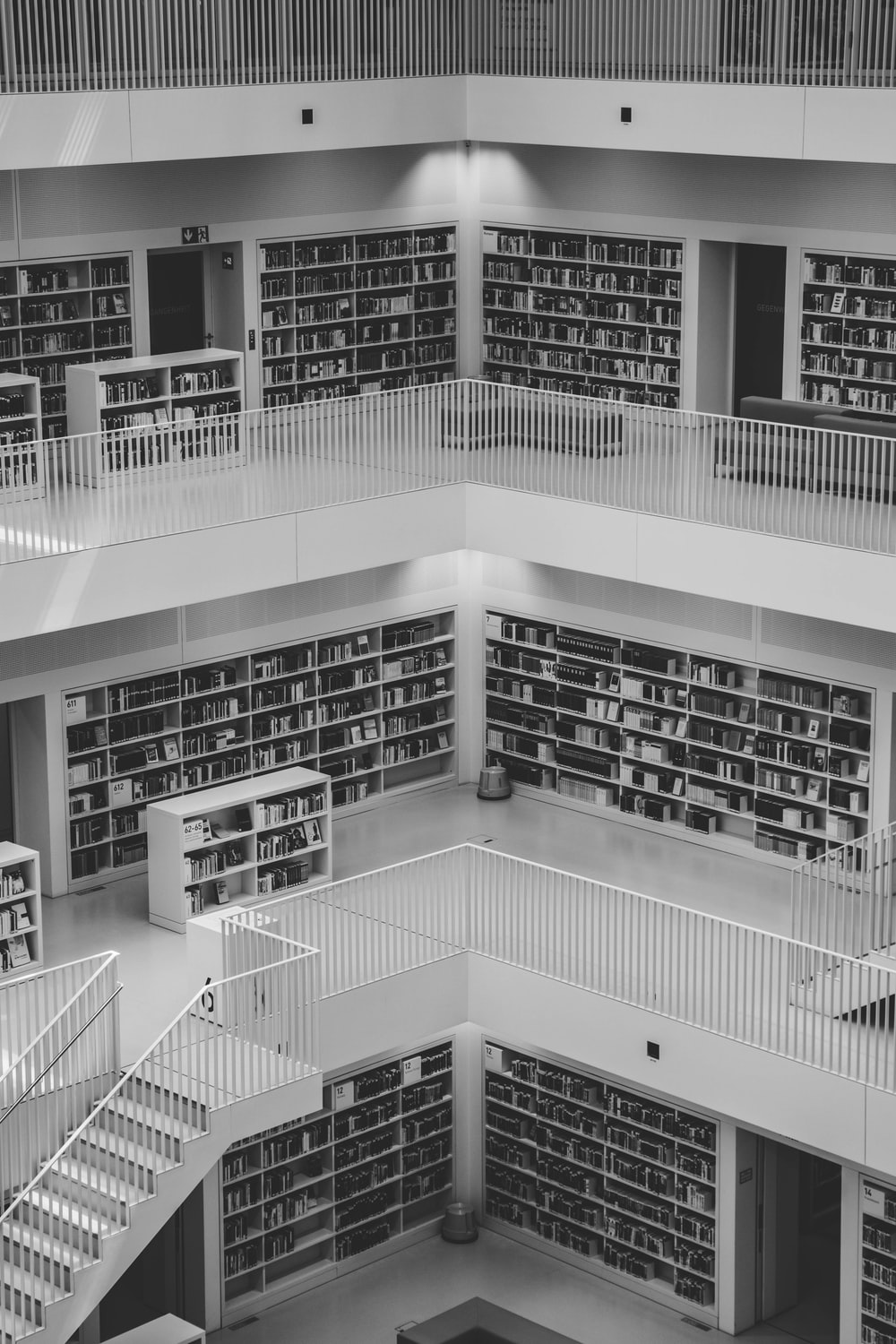 greyscale photo of library