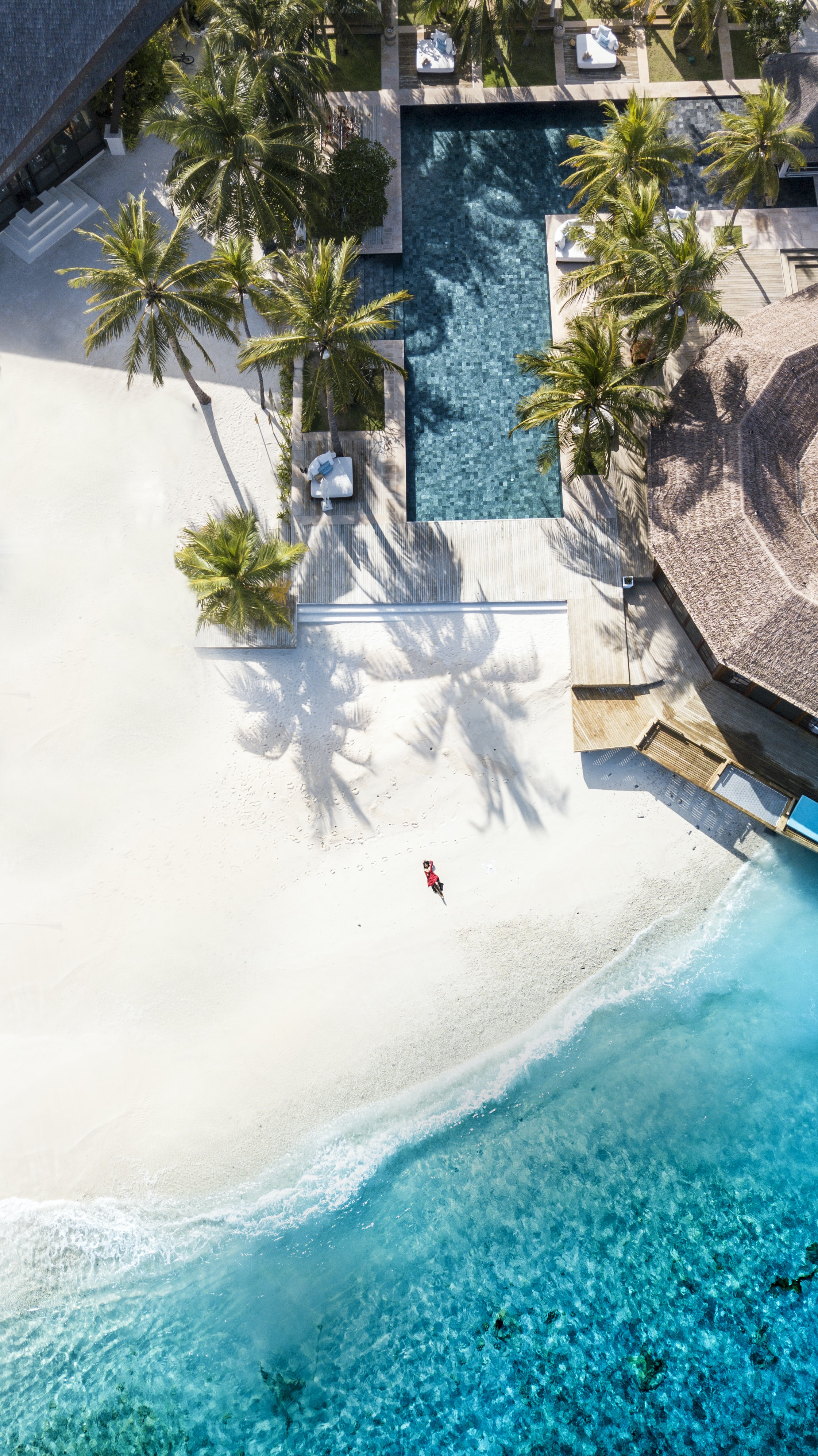 aerial view photography of seashore and pool