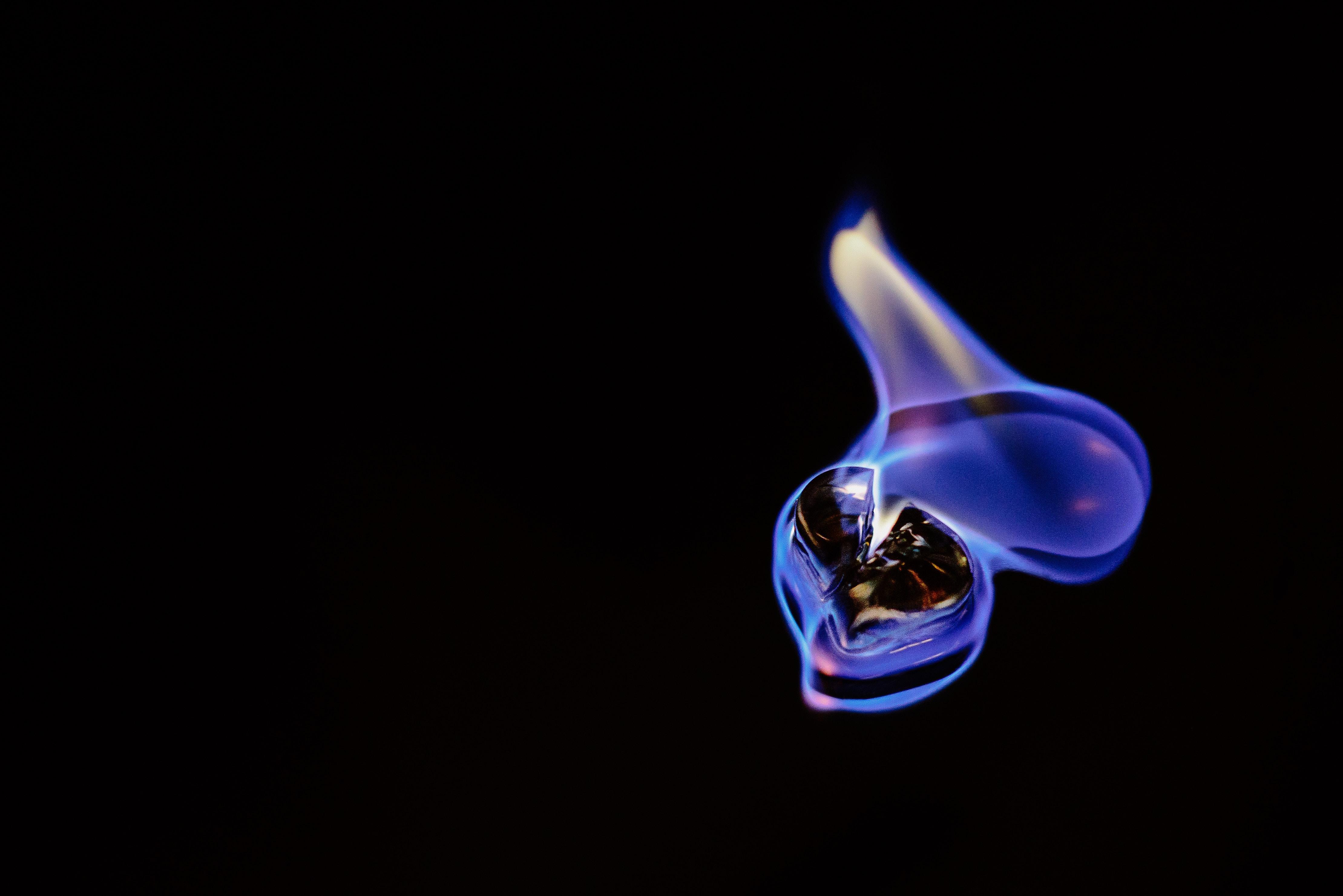 black substance on fire