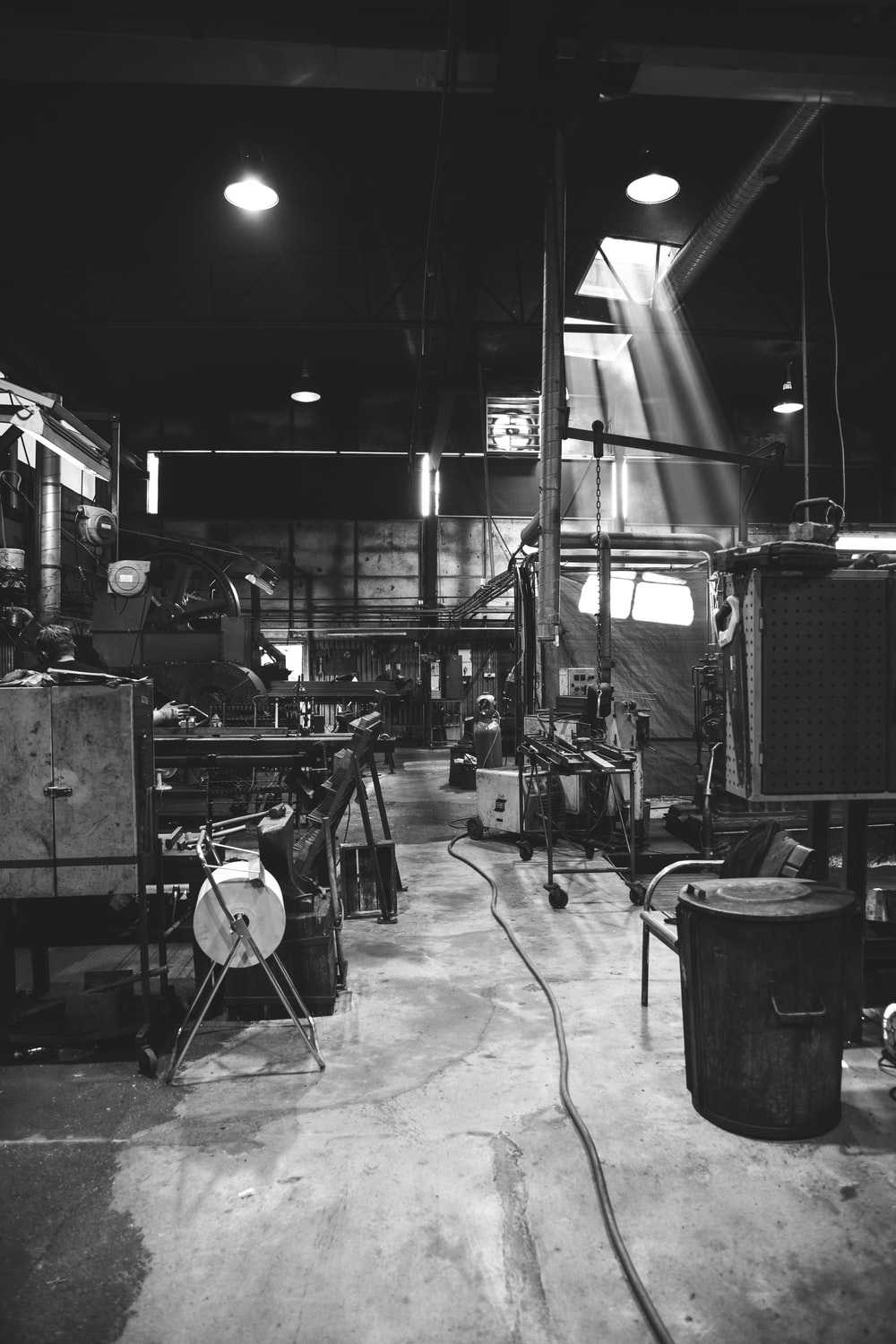 grayscale photography of garage
