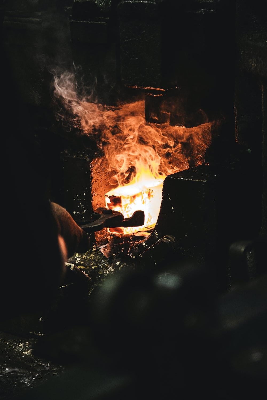 person melting iron
