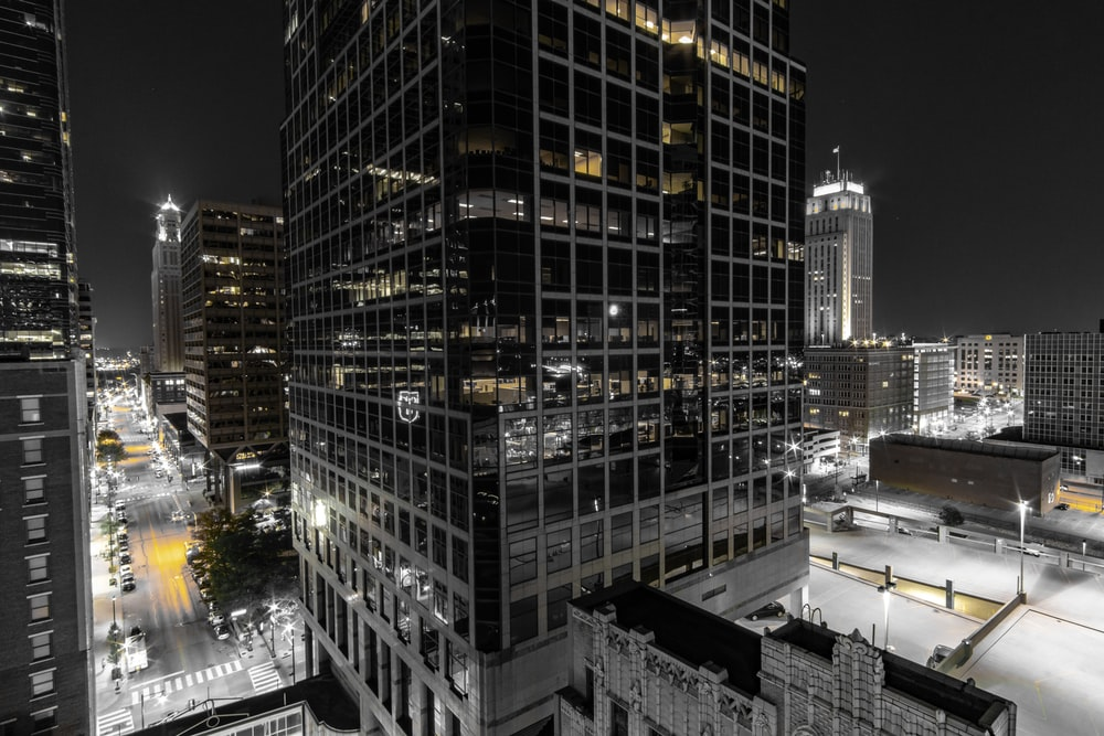 black and grey building during night time
