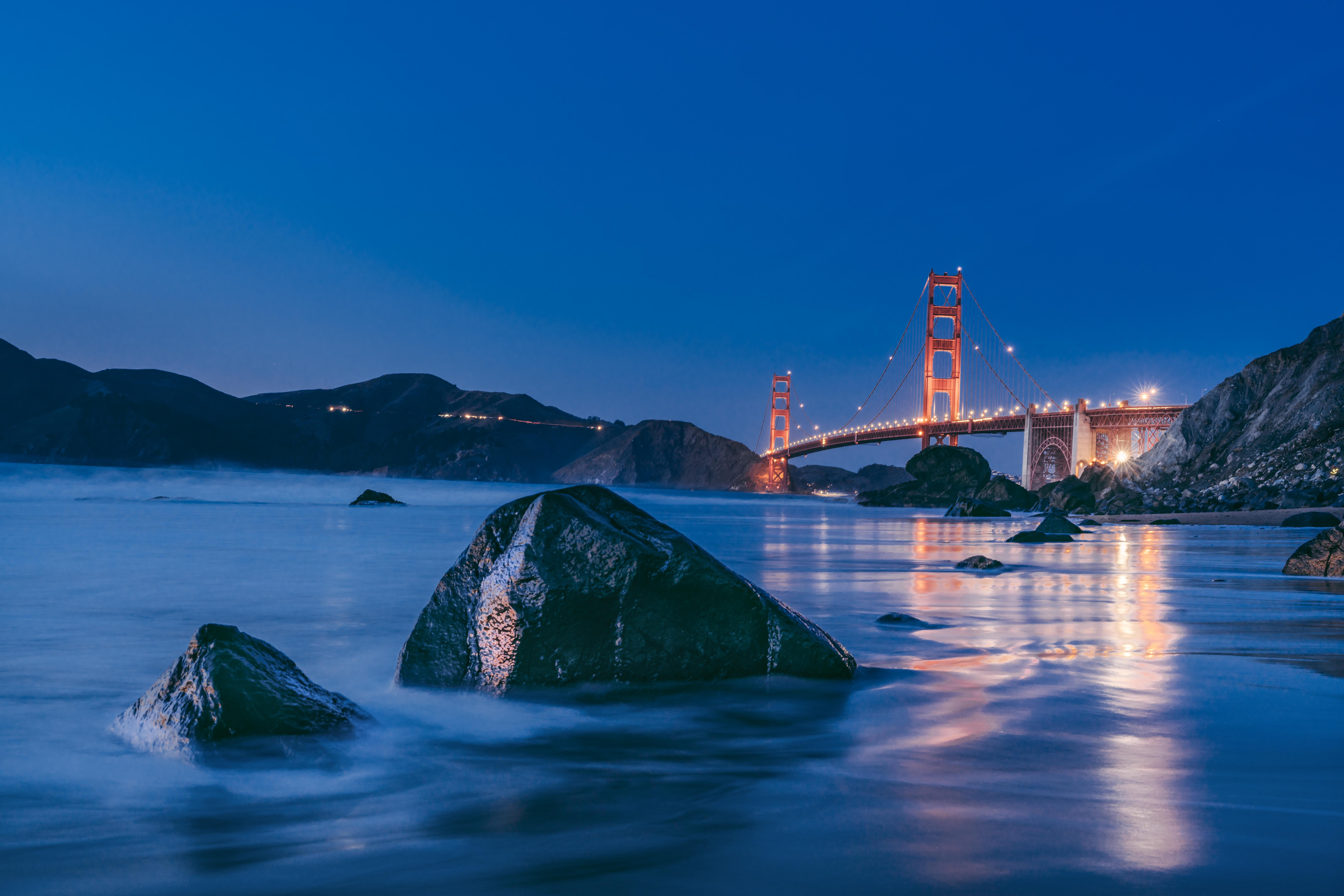 Golden Gate Bridge, California USA during nighttime