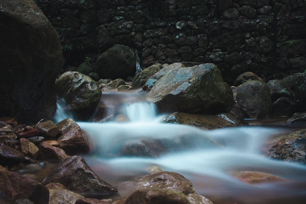 time-lapse photography of water stream