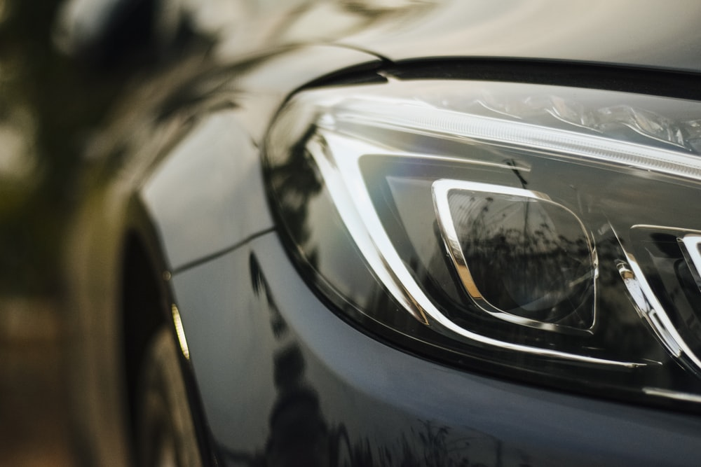 close-up photo of vehicle headlight