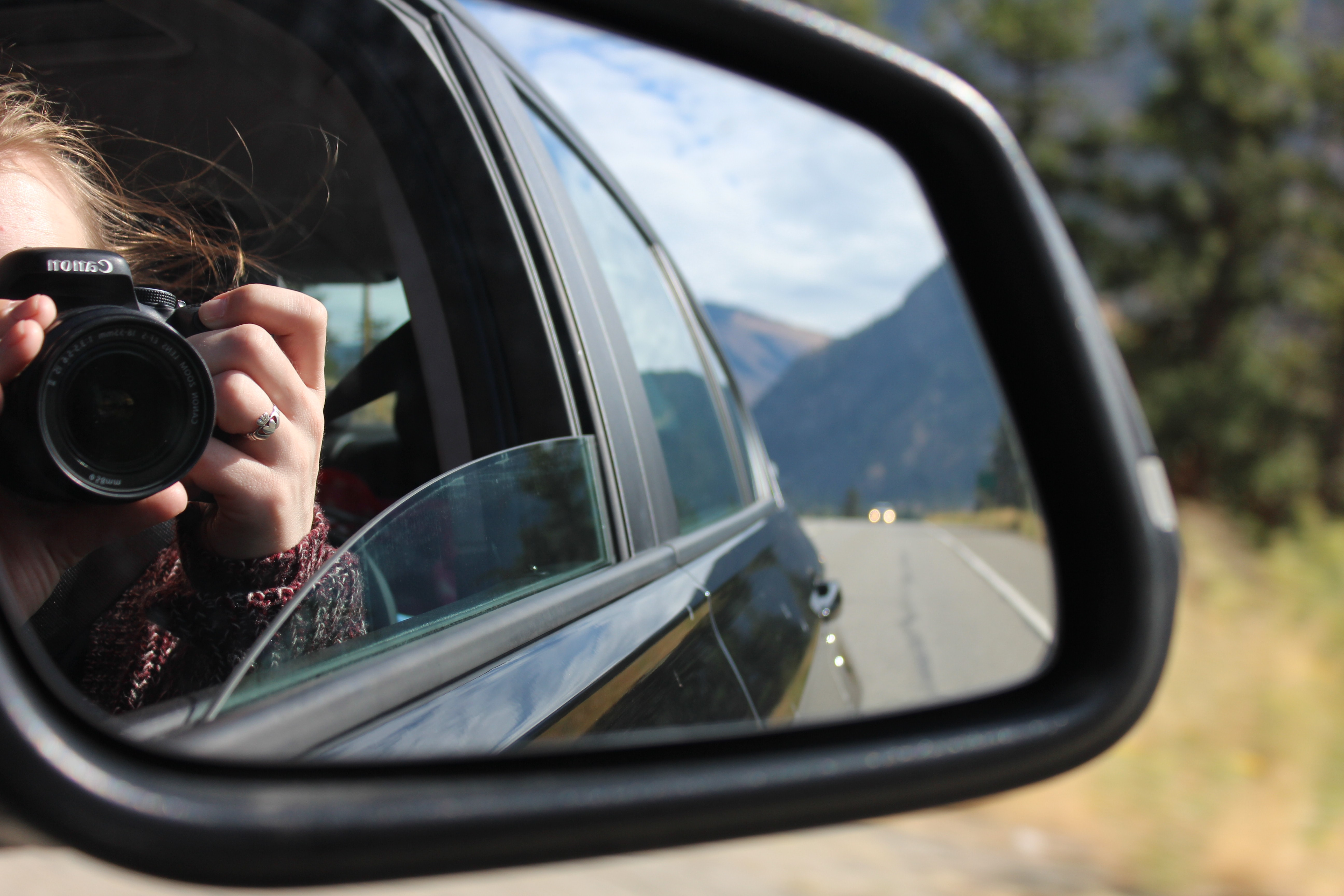 photo of car side mirror
