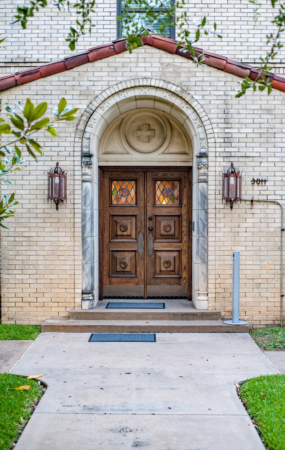 closed brown church door