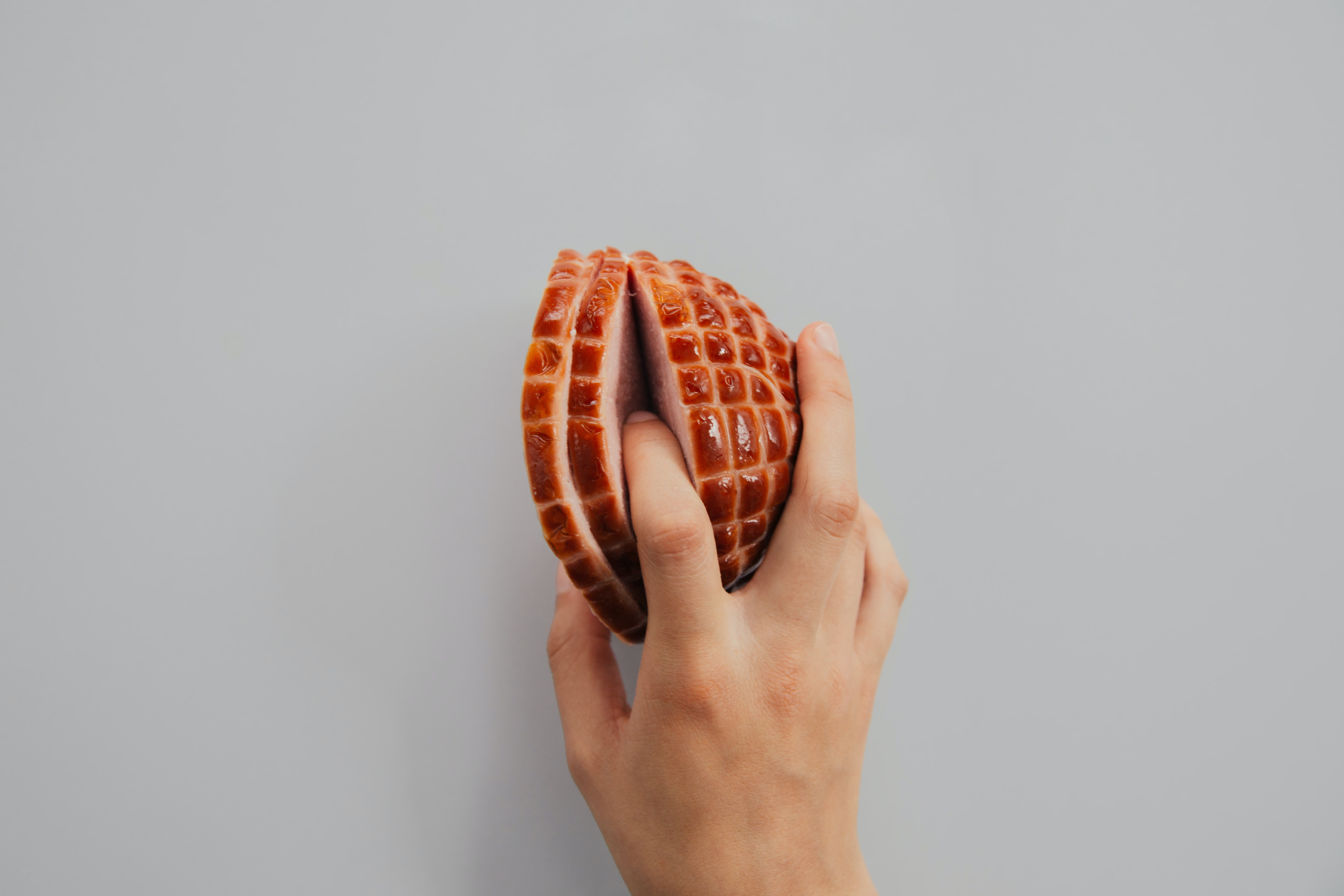 person holding meat