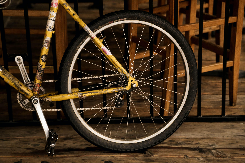yellow mountain bike