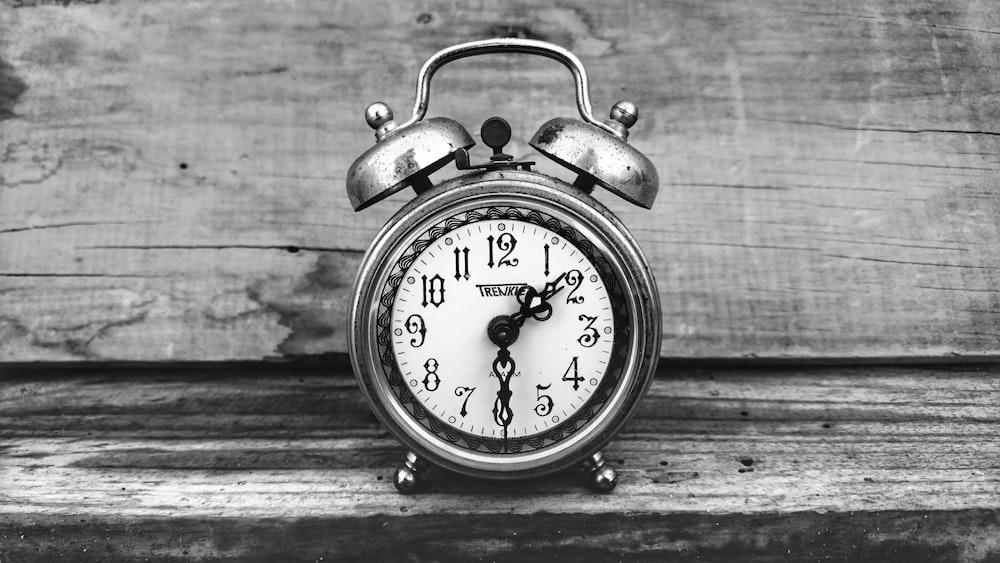 gray alarm clock at 1:30
