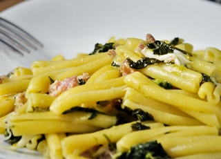 cooked pasta with greens