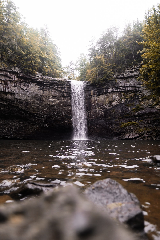 waterfalls near trees during daytime