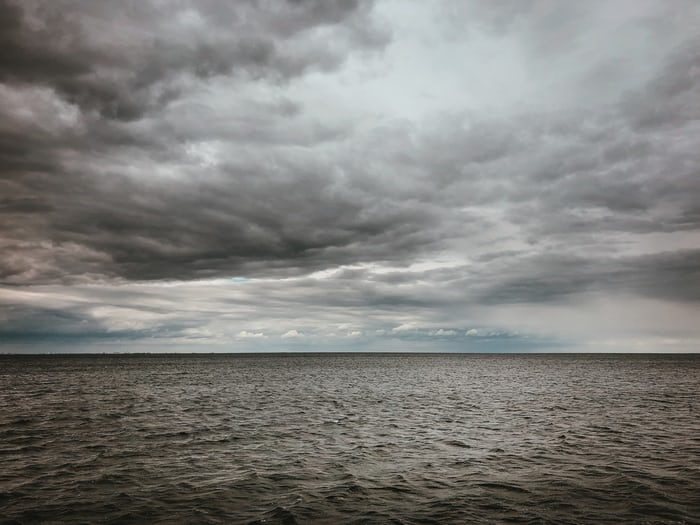 cloudy storm over water