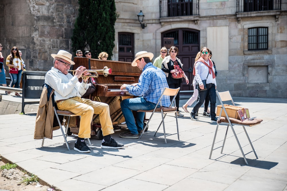 two men performing music