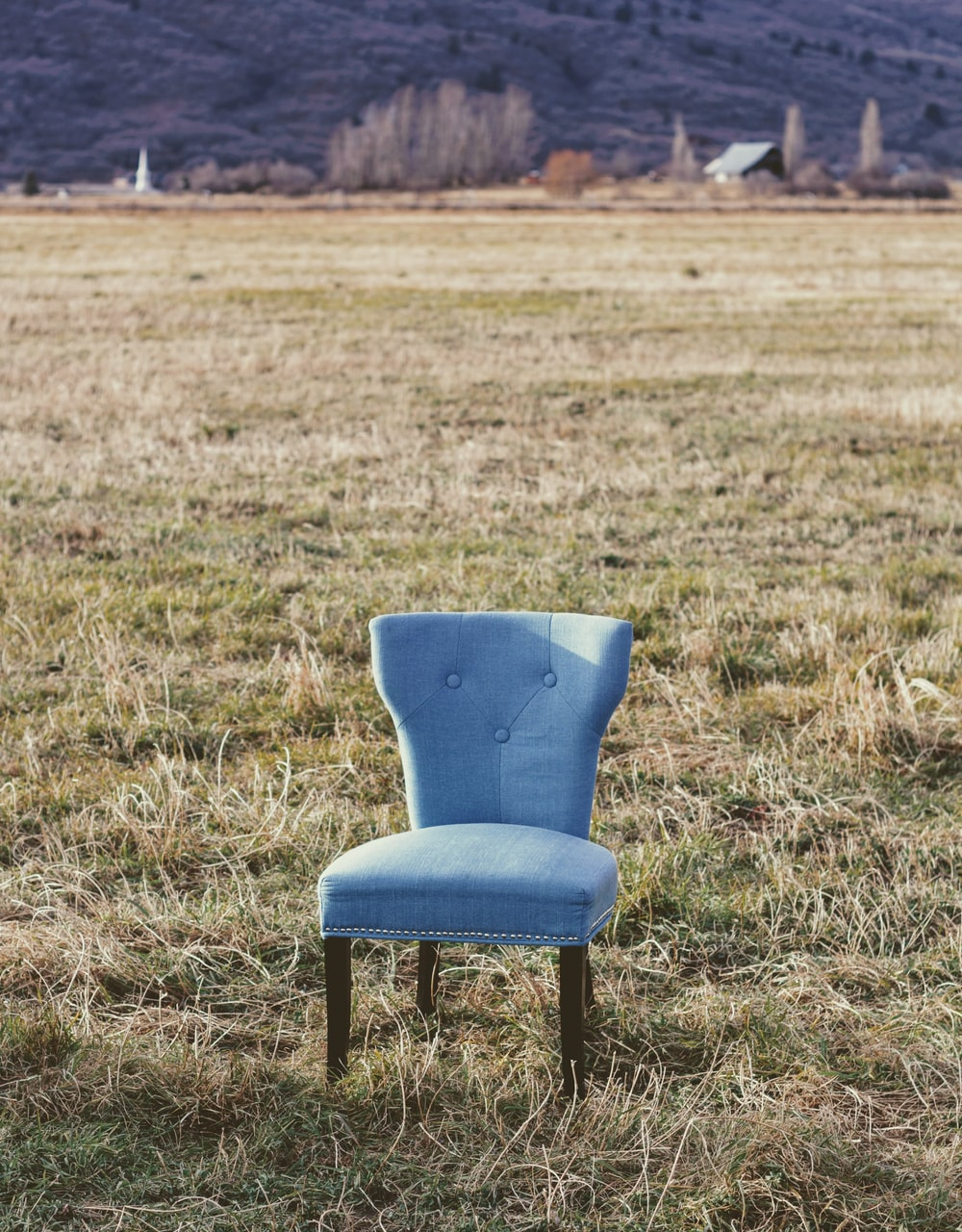 gray padded chair on grass field