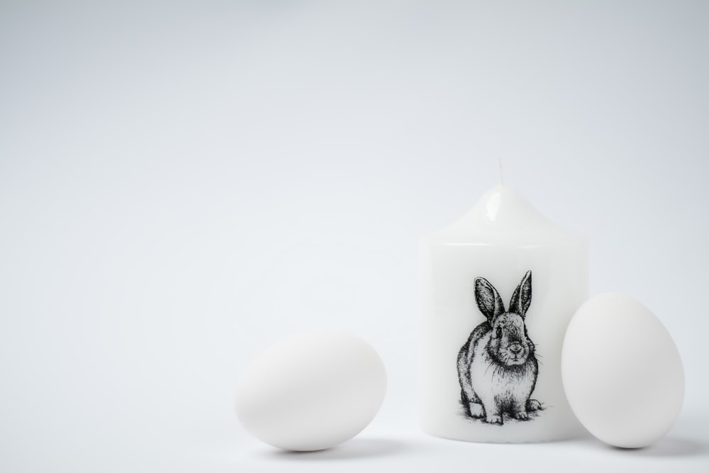 white cup with rabbit print