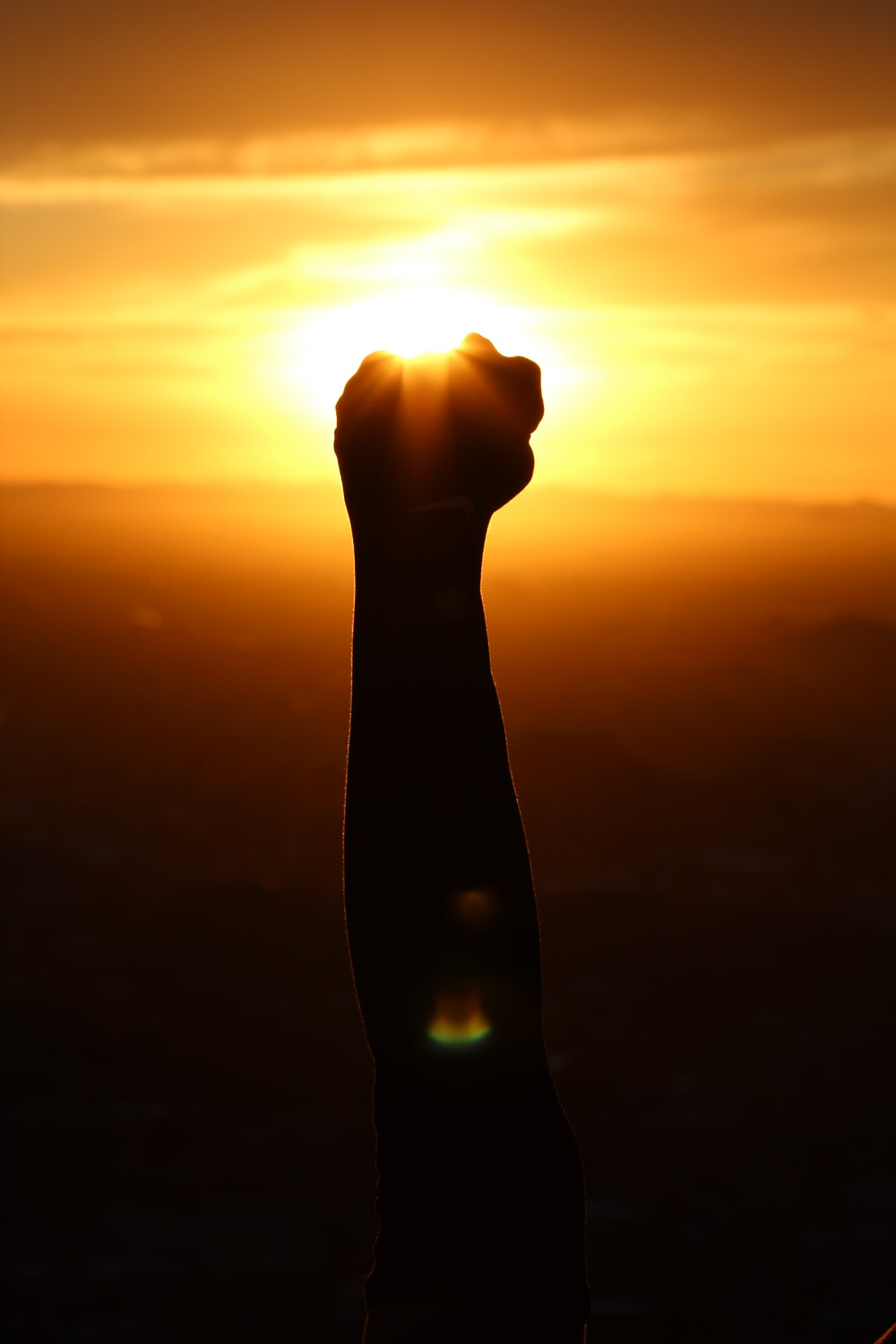 silhouette of person fist during sunset