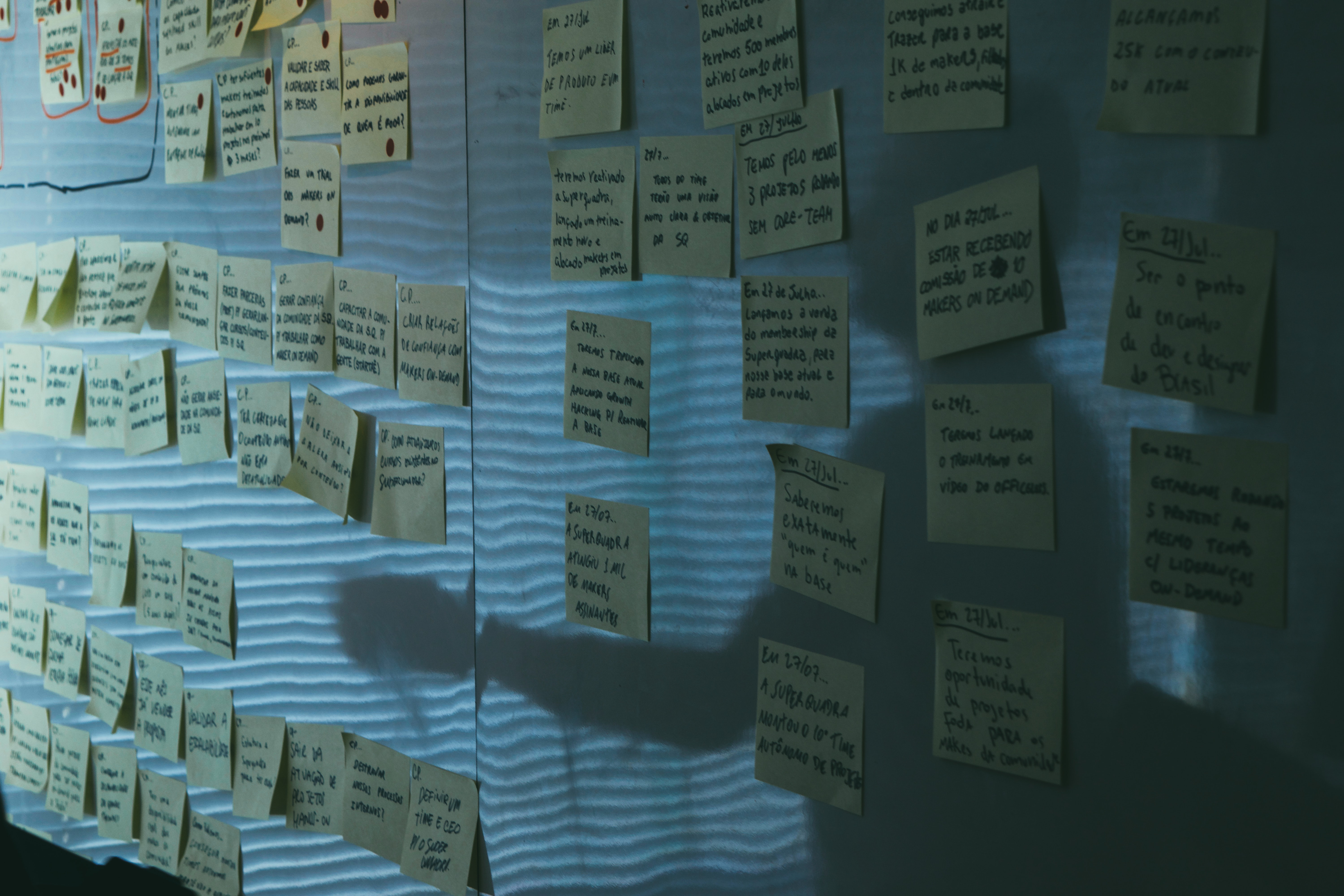 yellow sticky notes on gray wall