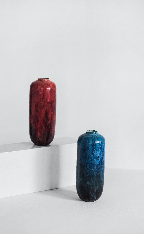 red and blue ceramic jars