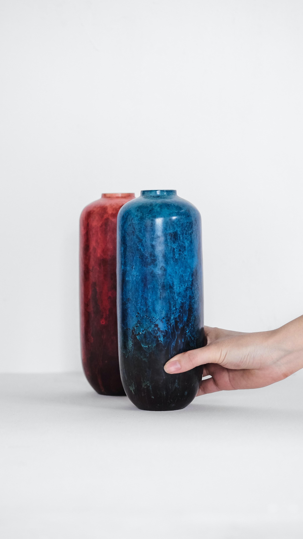 blue and red ceramic flower vases