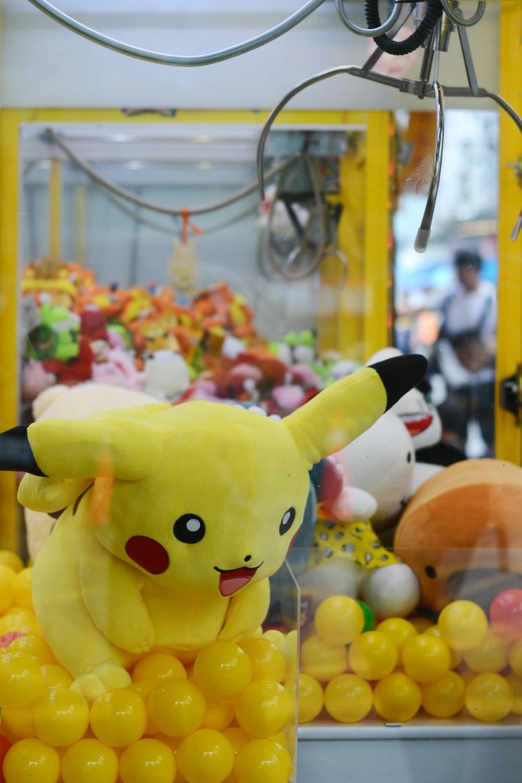 Pokemon Pikachu plush toy in claw machine