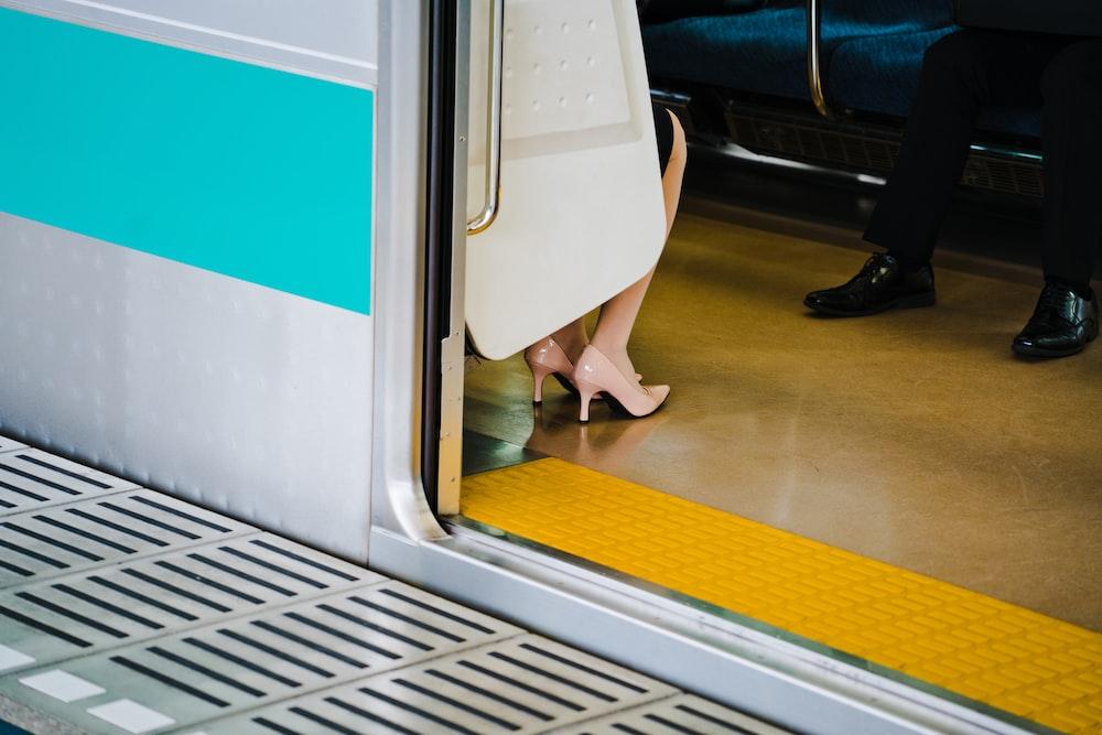 person sitting in train
