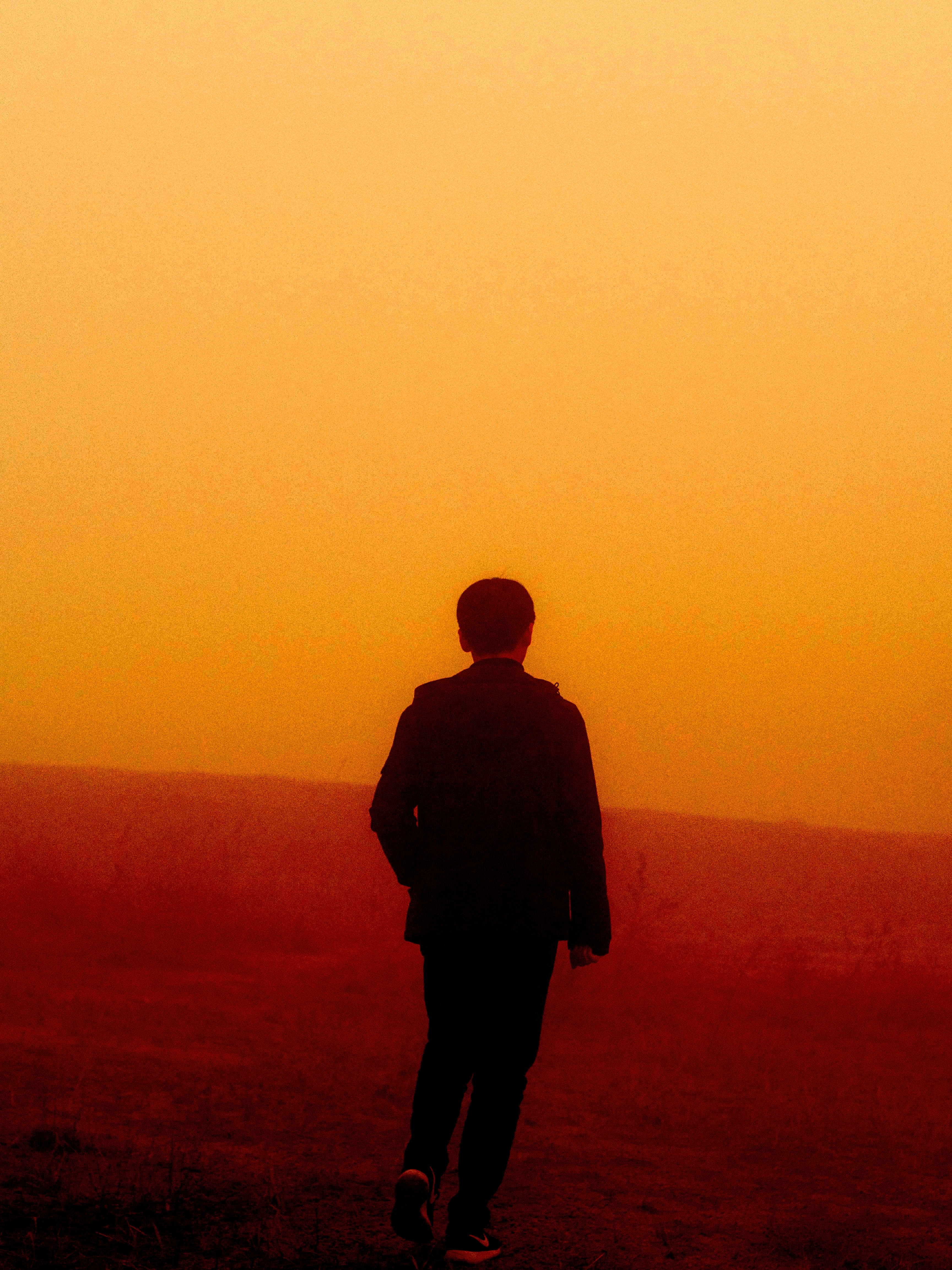 person walking on misty area