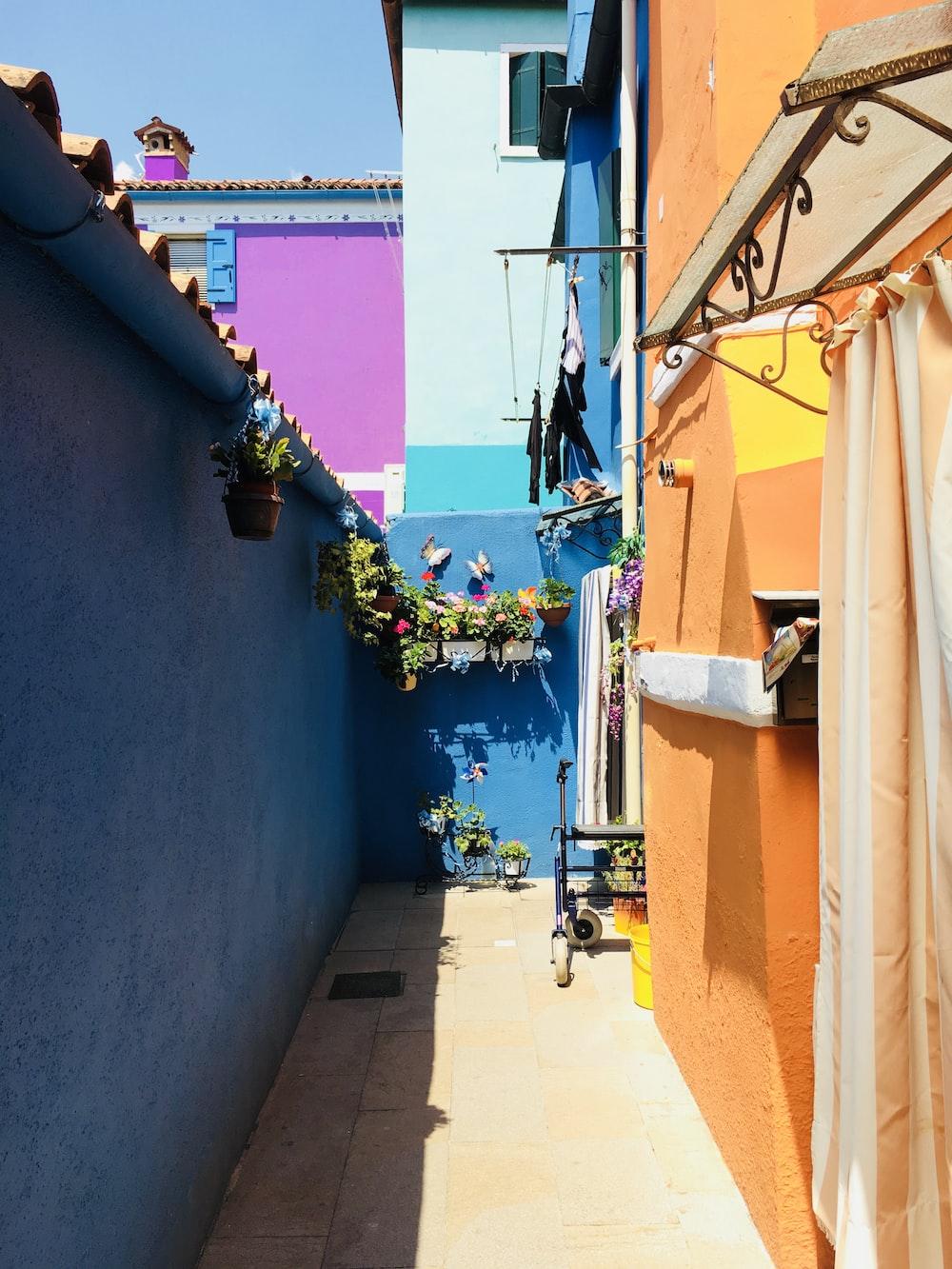 alley between blue and orange walls