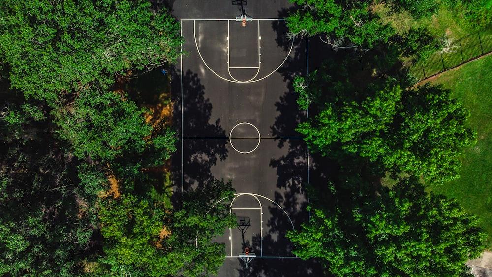 bird's eye view of basketball court